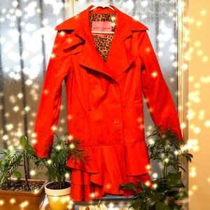 Betsy Johnson Red Ruffle Trench Rain Coat
